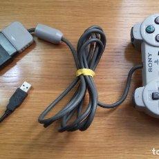 Videojuegos y Consolas: MANDO PLAY STATION ORIGINAL CON ADAPTADOR USB PARA PODER JUGAR TAMBIEN EN PC. Lote 115338727