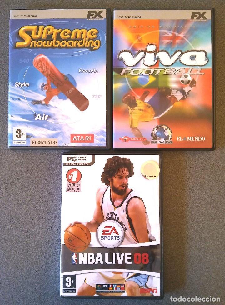 LOTE JUEGOS PC SUPREME SNOWBOARDING VIVA FOOTBALL NBA LIVE 08 (Juguetes - Videojuegos y Consolas - PC)