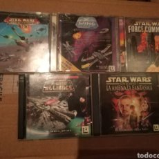 Videojuegos y Consolas: LOTE 5 JUEGOS PC CD STAR WARS - X WING / ALLIANCE / ROGUE SQUADRON 3D / FORCE COMMANDER .. LUCASARTS. Lote 151413282
