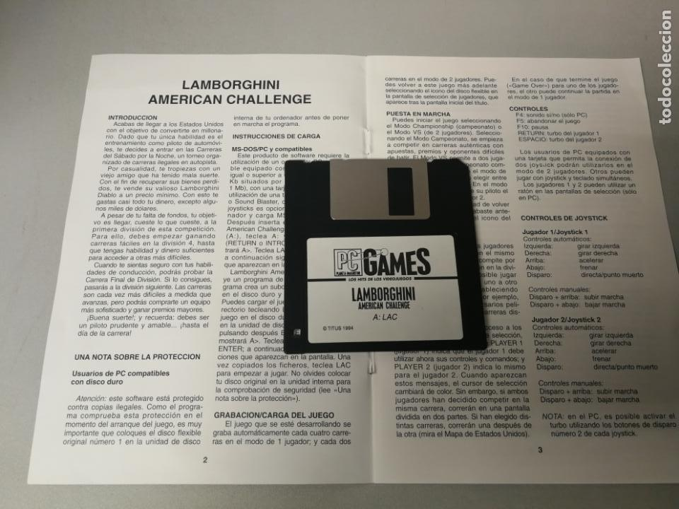 Videojuegos y Consolas: JUEGO PC DISKETTEE INSTRUCCIONES LAMBORGHINI AMERICAN CHALLENGE PAL ES - Foto 2 - 162481670