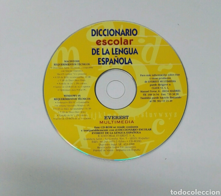 DICCIONARIO ESCOLAR DE LA LENGUA ESPAÑOLA CD (Juguetes - Videojuegos y Consolas - PC)