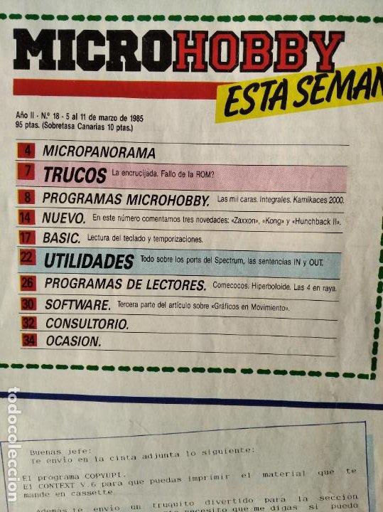 Videojuegos y Consolas: MICROHOBBY Nº 18 DE 1985- SPECTRUM, AMSTRAD, ATARI, COMMODORE, KAMICACES 2000, ZAXXON... - Foto 2 - 195746743