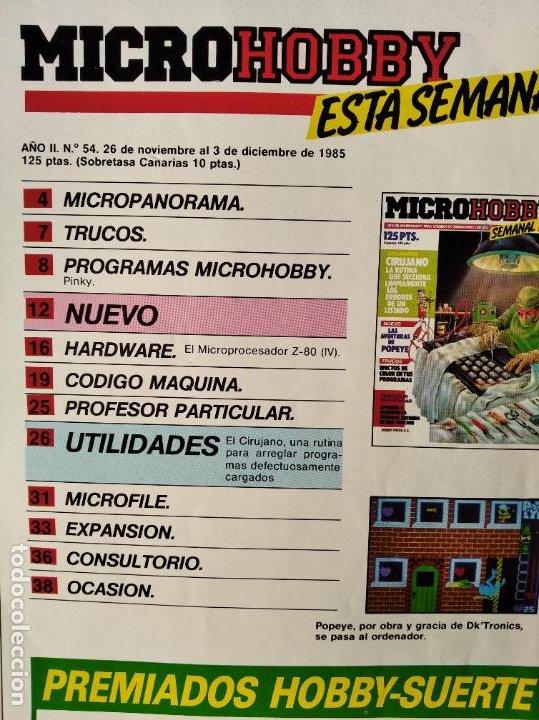 Videojuegos y Consolas: MICROHOBBY Nº 54 DE 1985- SPECTRUM, AMSTRAD, ATARI, COMMODORE, PINKY, VORTEX, POPEYE... - Foto 2 - 195747816