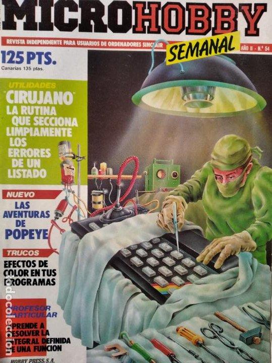 MICROHOBBY Nº 54 DE 1985- SPECTRUM, AMSTRAD, ATARI, COMMODORE, PINKY, VORTEX, POPEYE... (Juguetes - Videojuegos y Consolas - PC)