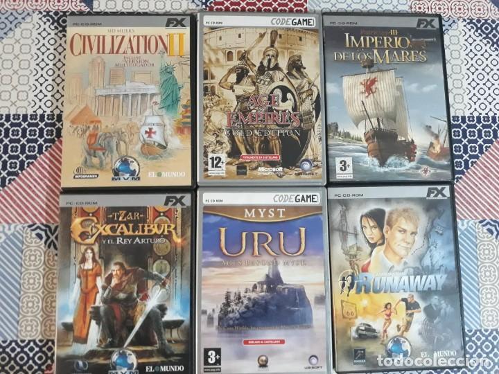 6 JUEGOS: CIVILIZATION II, MYST URU, RUNAWAY, EXCALIBUR Y EL REY ARTURO, PATRICIAN III, AGE OF EMPIR (Juguetes - Videojuegos y Consolas - PC)