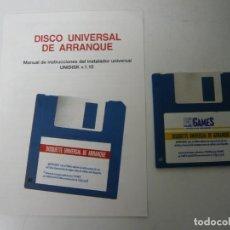 Videojogos e Consolas: DISQUETTE UNIVERSAL DE ARRANQUE Y MANUAL / SOLO DISCO / IBM PC / RETRO VINTAGE / DISKETTE. Lote 198519488