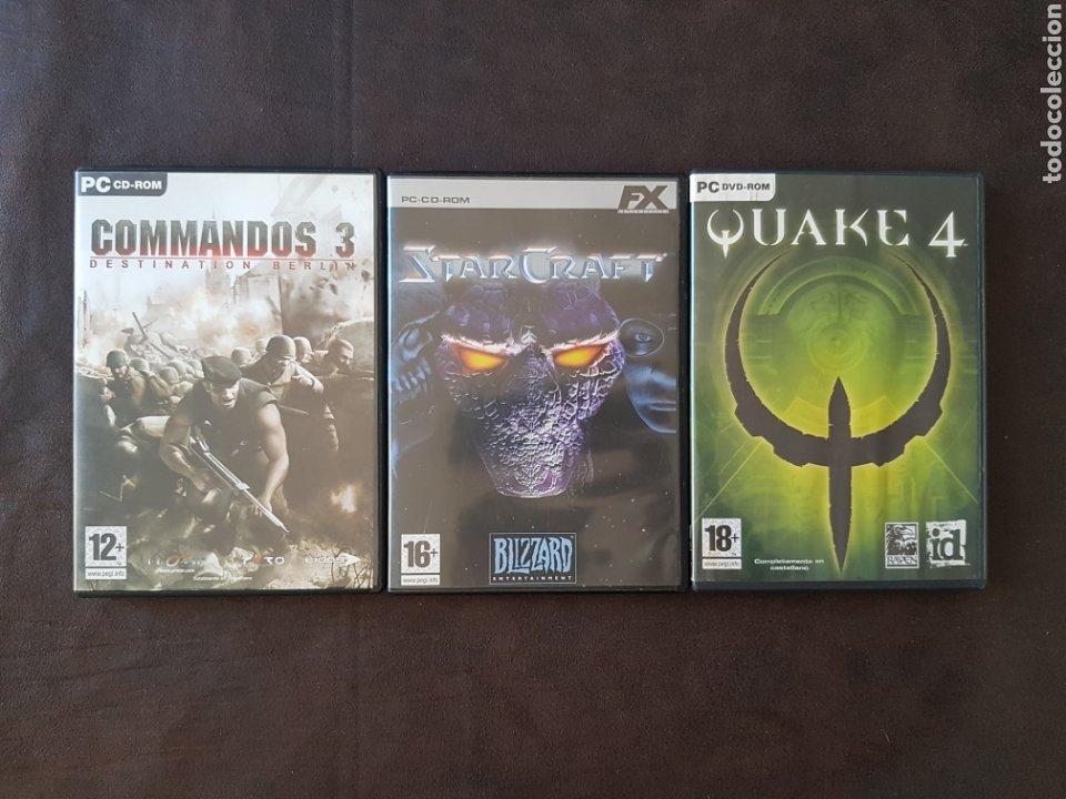 Juegos Quake 4, Commandos 3 y Starcraft para PC, usado segunda mano