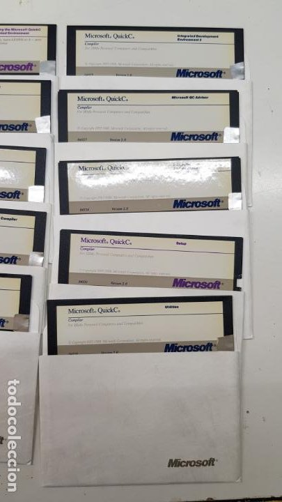 """Videojuegos y Consolas: Microsoft QuickC v2.0 (Compilador, 1988) Paquete 10 Discos 5.1/4"""" con licencia. - Foto 2 - 211718506"""