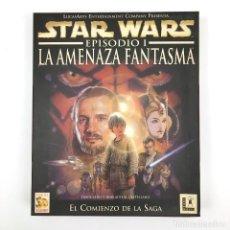 Videojuegos y Consolas: STAR WARS EPISODIO 1 LA AMENAZA FANTASMA SOLO CAJA GRANDE Y MANUAL MANDALORIAN GEORGE LUCAS ARTS PC. Lote 228997815