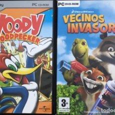Videojuegos y Consolas: LOTE 2 JUEGOS WOODY WOODPECKER Y VECINOS INVASORES PC CD ROM DREAMWORKS VIDEOJUEGO. Lote 235508370