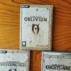 Videojuegos y Consolas: THE ELDER SCROLLS IV: 3 CAJAS CON: OBLIVION, SHIVERING ISLES, KNIGHTS OF NINE - CON MANUALES Y MAPAS. Lote 251071930