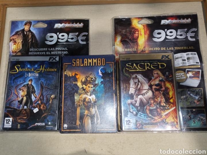 LOTE 3 PC DVD SALAMMBO Y BLISTERS SHERLOCK HOLMES Y SACRED EDICIÓN ORO (Juguetes - Videojuegos y Consolas - PC)