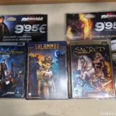 Videojuegos y Consolas: LOTE 3 PC DVD SALAMMBO Y BLISTERS SHERLOCK HOLMES Y SACRED EDICIÓN ORO. Lote 261623975