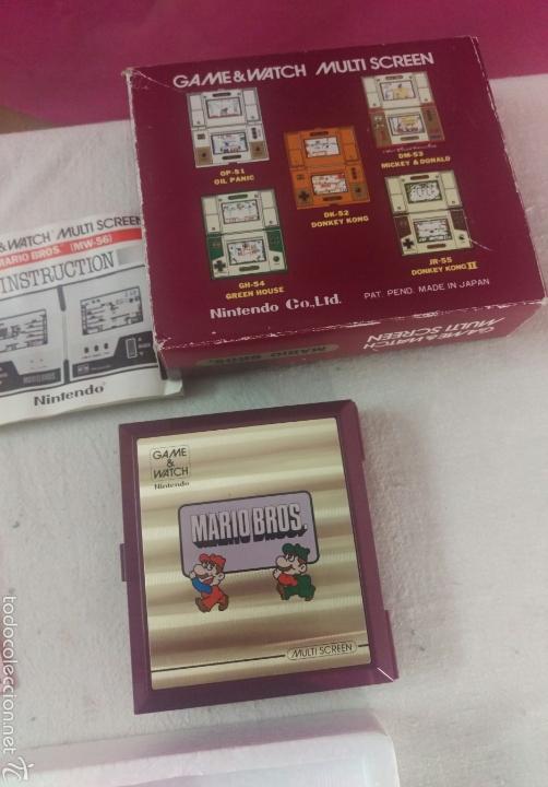 Videojuegos y Consolas: CONSOLA MARIO BROS. NINTENDO COMPLETA CAJA E INSTRUCCIONES - 1983 GAME & WATCH MW-56 MULTI SCREEN - Foto 8 - 60593379
