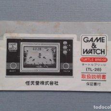 Videojuegos y Consolas: NINTENDO GAME&WATCH TURTLE BRIDGE TL-28 ORIGINAL JAPAN INSTRUCTION MANUAL DIRTY R6054. Lote 84421732