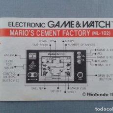 Videojuegos y Consolas: NINTENDO GAME&WATCH MARIO´S CEMENT FACTORY ML-102 ORIGINAL INSTRUCTION MANUAL!!! R6841. Lote 107510775