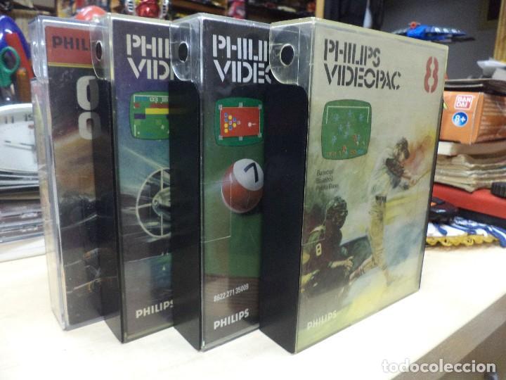LOTE DE 4 VIDEOJUEGOS PHILIPS VIDEOPAC 1980. (Juguetes - Videojuegos y Consolas - Otros descatalogados)