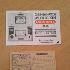 Videojuegos y Consolas: NINTENDO GAME&WATCH DONKEY KONG II JR-55 ORIGINAL MANUAL + HOW TO PLAY SHEET R8266. Lote 143462018