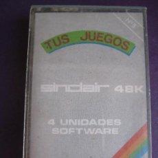 Videojuegos y Consolas: SINCLAIR 48K - Nº5 TUS JUEGOS - 4 UNIDADES SOFTWARE - OPEN TENIS - JUNGLE AXE - JARAMA - S. PACKMEN. Lote 155708702