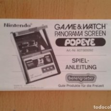 Videojuegos y Consolas: NINTENDO GAME&WATCH PANORAMA POPEYE PG-92 ORIGINAL GERMAN INSTRUCTION MANUAL!!! R8924. Lote 159255682