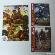 Videojuegos y Consolas: LOTE 3 GUÍAS DE JUEGOS (UNCHARTED 3, ASSASSINS CREED, BULLET) / RETRO VINTAGE / CLÁSICO / VIDEOJUEGO. Lote 166992060