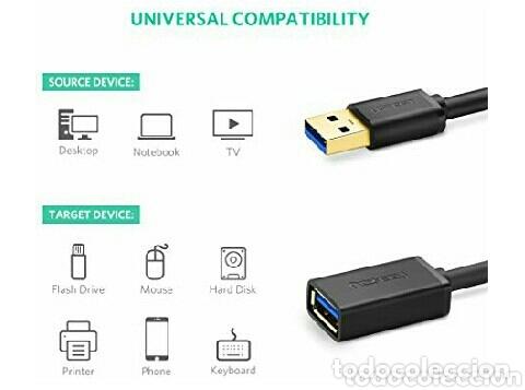 Videojuegos y Consolas: Extensión USB tipo A macho a hembra (2 metros) - Foto 2 - 172339864