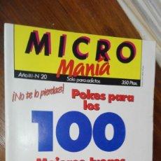 Videojuegos y Consolas: MICRO MANIA (MICROMANIA) 1ª EPOCA Nº 20 AMSTRAD, MSX, SPECTRUM, COMMODORE. Lote 175349020