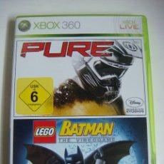 Videojuegos y Consolas: VIDEO JUEGO XBOX 360 2 JUEGOS PURE Y BATMAN CON SU LIBRILLO. Lote 179104398
