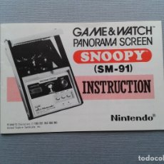 Videojuegos y Consolas: NINTENDO GAME&WATCH PANORAMA SNOOPY SM-91 ORIGINAL ENGLISH INSTRUCTION MANUAL R9535. Lote 181719226