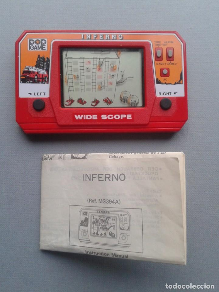 POP GAME GAME&WATCH LCD INFERNO WIDE SCOPE+INSTRUCTION MANUAL FULL WORKING SEE!! R10109 (Juguetes - Videojuegos y Consolas - Otros descatalogados)