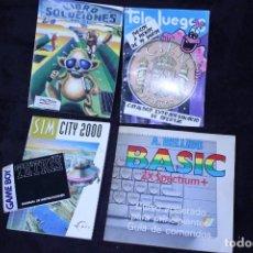 Videojuegos y Consolas: LOTE LIBROS MAXIS PROEIN AMSTRAD PC BASIC SOLUCIONES CATALOGO JUEGOS 100 PESETAS. Lote 202597927