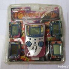 Videojuegos y Consolas: BLISTER SIN ABRIR MÁQUINA CONSOLA AÑOS 80/90 VINTAGE CON 5 JUEGOS CARTUCHOS INTERCAMBIABLES. Lote 207782942