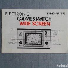Videojogos e Consolas: NINTENDO GAME&WATCH WIDESCREEN FIRE FR-27 ORIGINAL ENGLISH INSTRUCTION MANUAL R11095. Lote 208448247