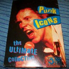 Vídeos y DVD Musicales: 3DVD PUNK ICONS - ULTIMATE COLLECTION - SEX PISTOLS - RAMONES - CLASH - PRECINTADA. Lote 35539082