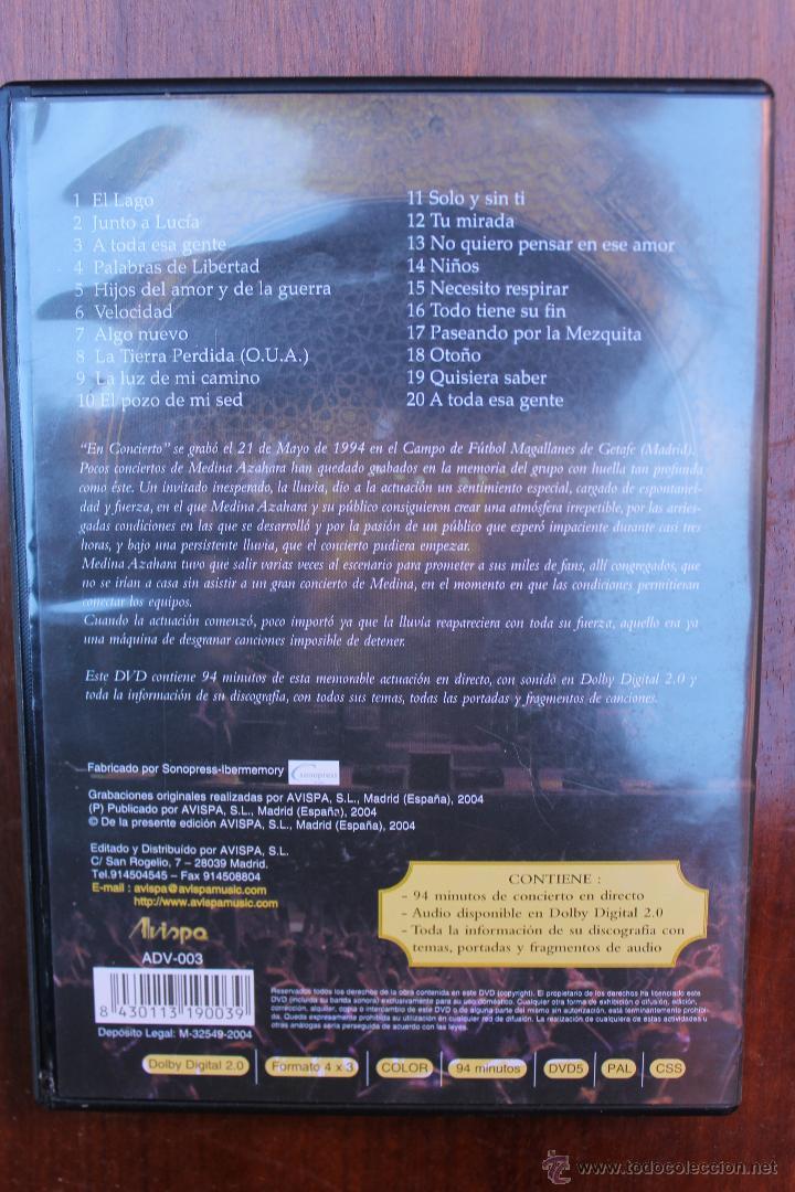 Vídeos y DVD Musicales: MEDINA AZAHARA EN CONCIERTO – DVD MUSICAL GRABADO EN DIRECTO EL 21 DE MAYO DE 1994 - Foto 2 - 39932044