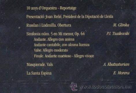Vídeos y DVD Musicales: ORQUESTRA SIMFÒNICA JULIÀ CARBONELL DE LLEIDA 10 ANYS D'ORQUESTRA CONCERTS CLOENDA DE L'ANIVERSARI - Foto 4 - 42993884