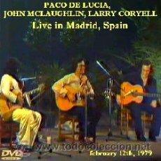 Vídeos y DVD Musicales: JOHN MCLAUGHLIN, PACO DE LUCIA, LARRY CORYELL - EN DIRECTO, MADRID 1979 (DVD). Lote 194724243
