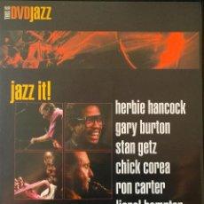 Vídeos y DVD Musicales: DVD MUSICAL- JAZZ IT!- HERBIE HANCOCK,GARY BURTON,STAN GETZ,CHICK COREA,RON CARTER,LIONEL HAMPTON,. Lote 46932011