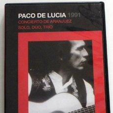 Vídeos y DVD Musicales: PACO DE LUCÍA 1991 - DVD CONCIERTO DE ARANJUEZ / SOLO DÚO TRÍO - GUITARRA MÚSICA FLAMENCO CAÑIZARES. Lote 53261406