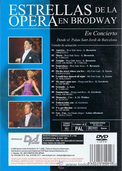 Vídeos y DVD Musicales: DVD ESTRELLAS DE LA ÓPERA EN BRODWAY - Foto 2 - 53335617