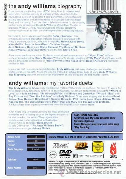 Vídeos y DVD Musicales: DVD ANDY WILLIAMS ¨MOON RIVER AND ME¨ - Foto 2 - 54073892