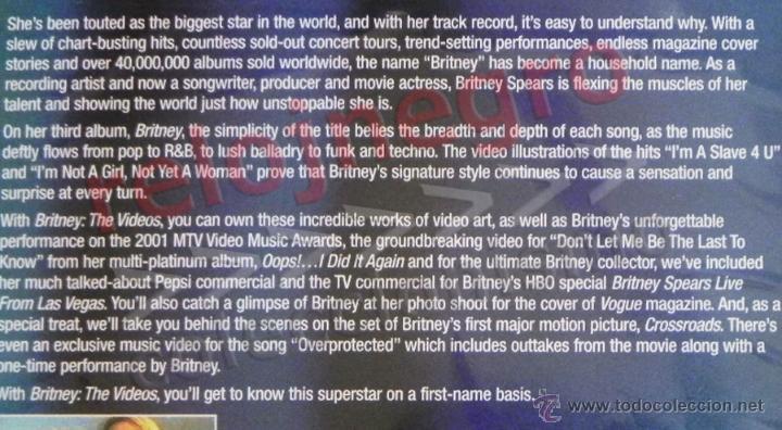 Vídeos y DVD Musicales: BRITNEY THE VIDEOS - DVD MÚSICA POP - LOS VIDEOS DE SPEARS -EN INGLÉS - MAKING OF - JOY OF PEPSI ETC - Foto 2 - 54506534