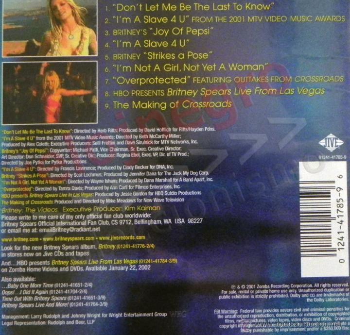 Vídeos y DVD Musicales: BRITNEY THE VIDEOS - DVD MÚSICA POP - LOS VIDEOS DE SPEARS -EN INGLÉS - MAKING OF - JOY OF PEPSI ETC - Foto 3 - 54506534