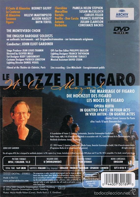 Vídeos y DVD Musicales: DVD LE NOZZE DI FIGARO W.A.MOZART - Foto 2 - 61067347