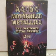 Vídeos y DVD Musicales: AC/DC - MOTORHEAD - METALLICA - THE ULTIMATE METAL REVIEW - 3 X DVD - RARO - EX+/EX+. Lote 79881249