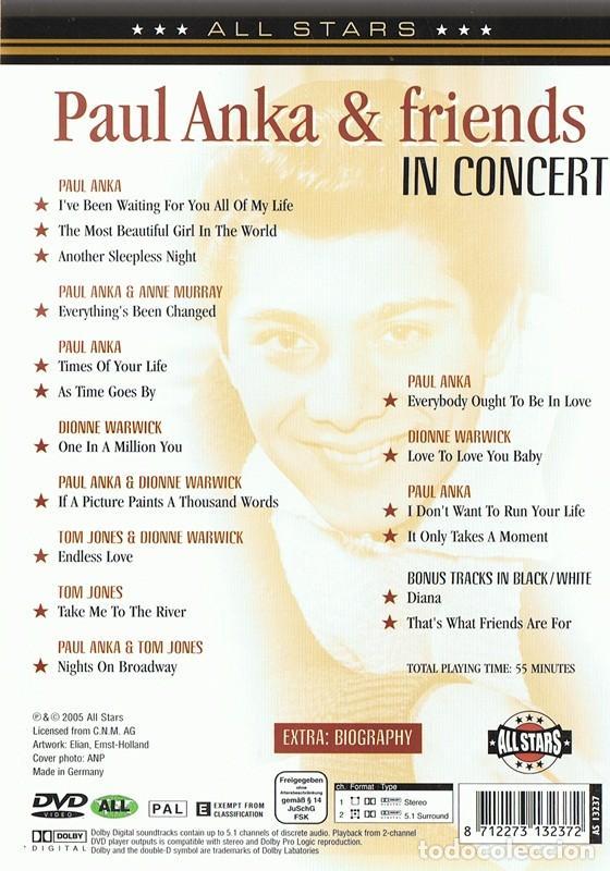 Vídeos y DVD Musicales: DVD PAUL ANKA & FRIENDS DIANA - Foto 2 - 83819280