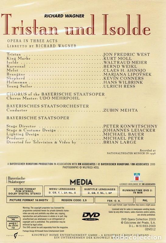 Vídeos y DVD Musicales: DVD OPERA ¨TRISTAN UND ISOLDE¨RICHARD WAGNER ( PRECINTADO) - Foto 2 - 180223105