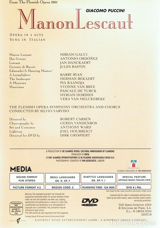 Vídeos y DVD Musicales: DVD OPERA ¨MANON LESCAUT¨ GIACOMO PUCCINI - Foto 2 - 90358232