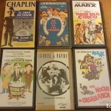 Vídeos y DVD Musicales: 6 VHS CHAPLIN LOS HERMANOS MARX LAUREL Y HARDY. Lote 222651403