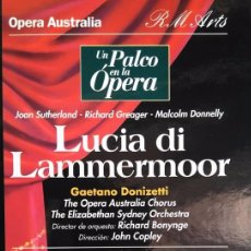 Vídeos y DVD Musicales: DONIZETTI. LUCIA DI LAMMERMOOR. SUTHERLAND, GREAGER, DONNELLY, COPLEY. VHS. Lote 97855751